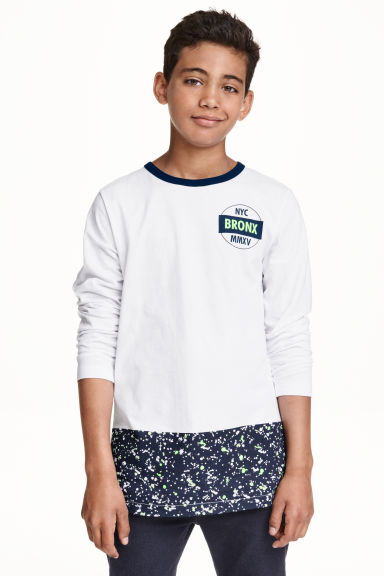 Long-sleeved T-shirt - White - Kids | H&M CN 1