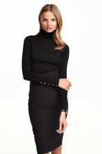 Fine-knit polo-neck jumper - Black - Ladies | H&M GB 1
