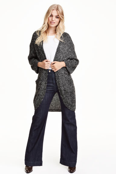 Chunky-knit cardigan - Black marl - Ladies | H&M GB 1
