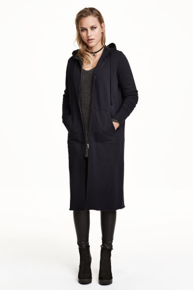 Long sweatshirt cardigan - Black - Ladies | H&M CN