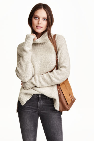 Knitted polo-neck jumper - Natural white - Ladies | H&M GB 1