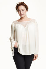 H&M+ Blouse with lace - Natural white - Ladies | H&M CN 1