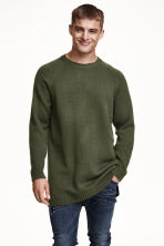 Knitted jumper - Dark green - Men | H&M GB 1