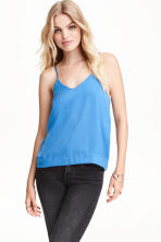 V-neck top in satin - Blue - Ladies | H&M CN 1
