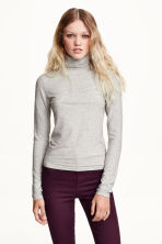 Ribbed polo-neck top - Grey marl - Ladies | H&M CN 1