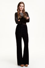 Velvet trousers - Black - Ladies | H&M CN 1