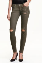 Super Skinny Low Ripped Jeans - 深卡其绿 - 女士 | H&M CN 1