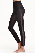 Leggings with glittery stripes - Black - Ladies | H&M CN 1