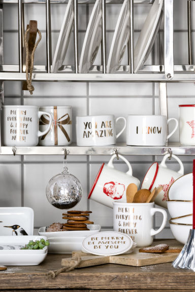 Lot de 2 mugs en porcelaine - Blanc/texte - Home All | H&M FR 1