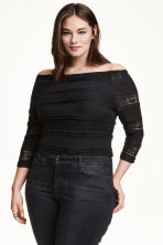 H&M+ Off-the-shoulder lace top - Black - Ladies | H&M CN 1