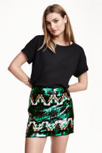 Sequined skirt - Black/Green/Patterned - Ladies | H&M CN 1
