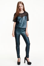 Sequined leggings - Black/Multicoloured - Ladies | H&M CN 1