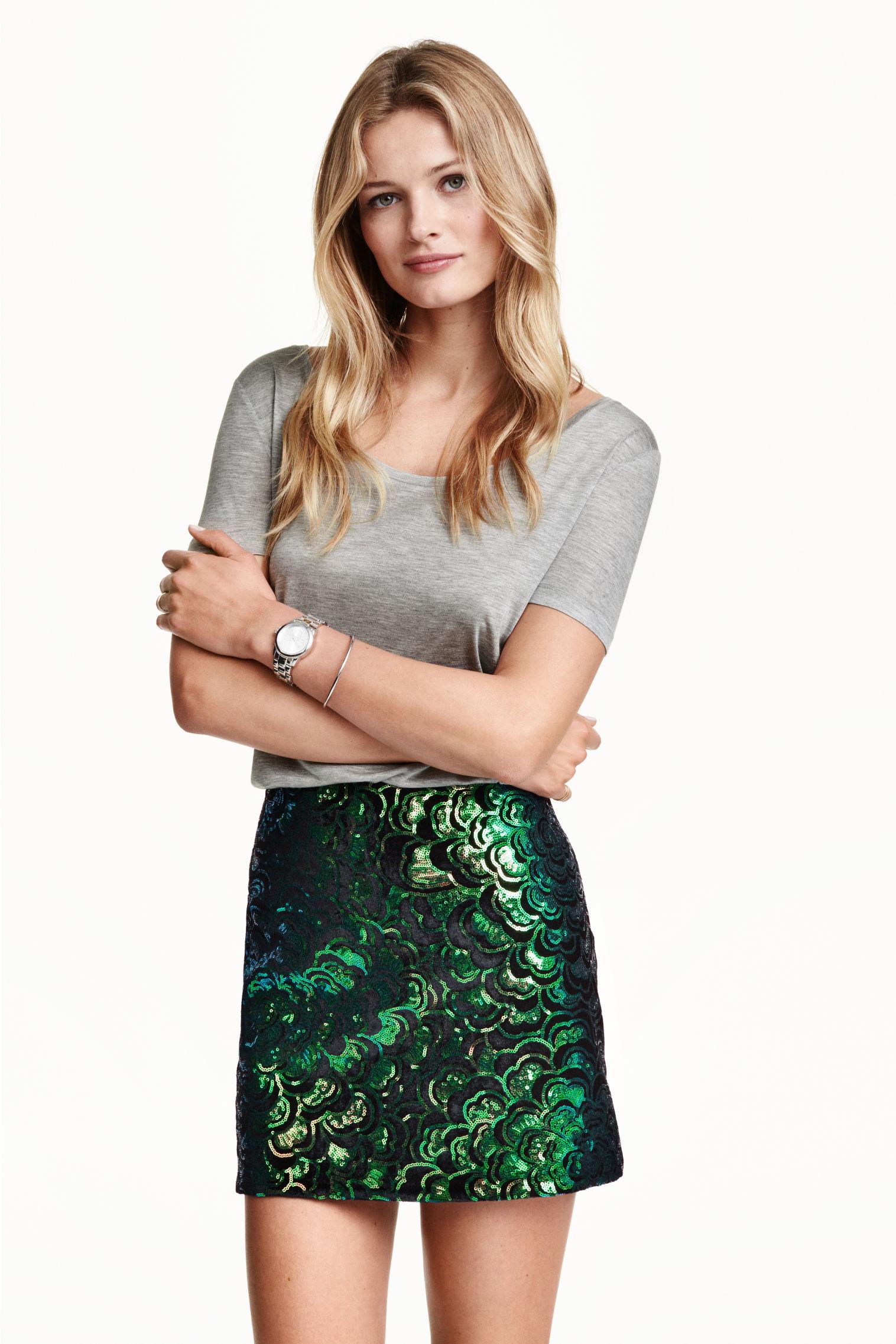 Sequined skirt - Black/Green - Ladies | H&M GB