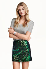Sequined skirt - Black/Green - Ladies | H&M CN 1