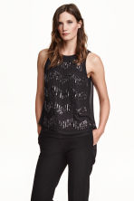 Chiffon blouse with beads - Black - Ladies | H&M CN 1