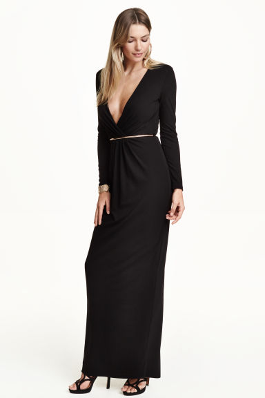 Long V-neck dress - Black - Ladies | H&M CN 1