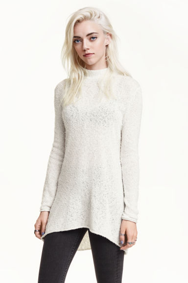 Knitted turtleneck jumper - Light grey - Ladies | H&M GB 1