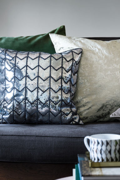 Sequined cushion cover - Grey/Silver - Home All | H&M GB 1