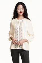 Lace blouse - Natural white - Ladies | H&M CN 1