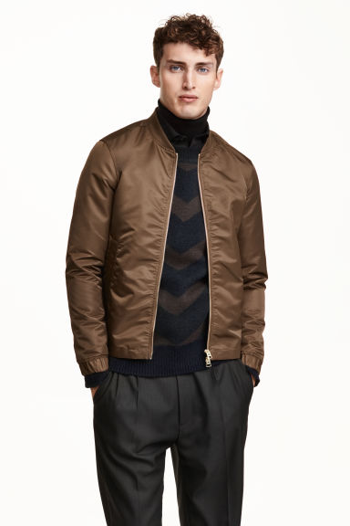 Satin bomber jacket - Dark brown - Men | H&M CN