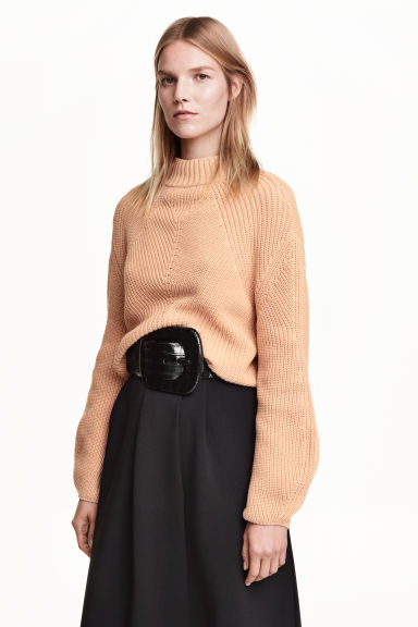 Rib-knit jumper - Powder beige - Ladies | H&M GB 1