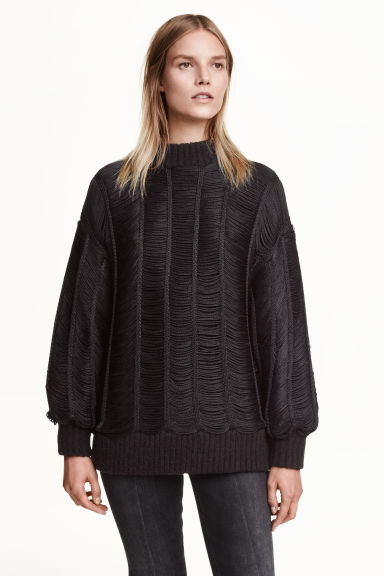 Fringed jumper - Black - Ladies | H&M GB 1