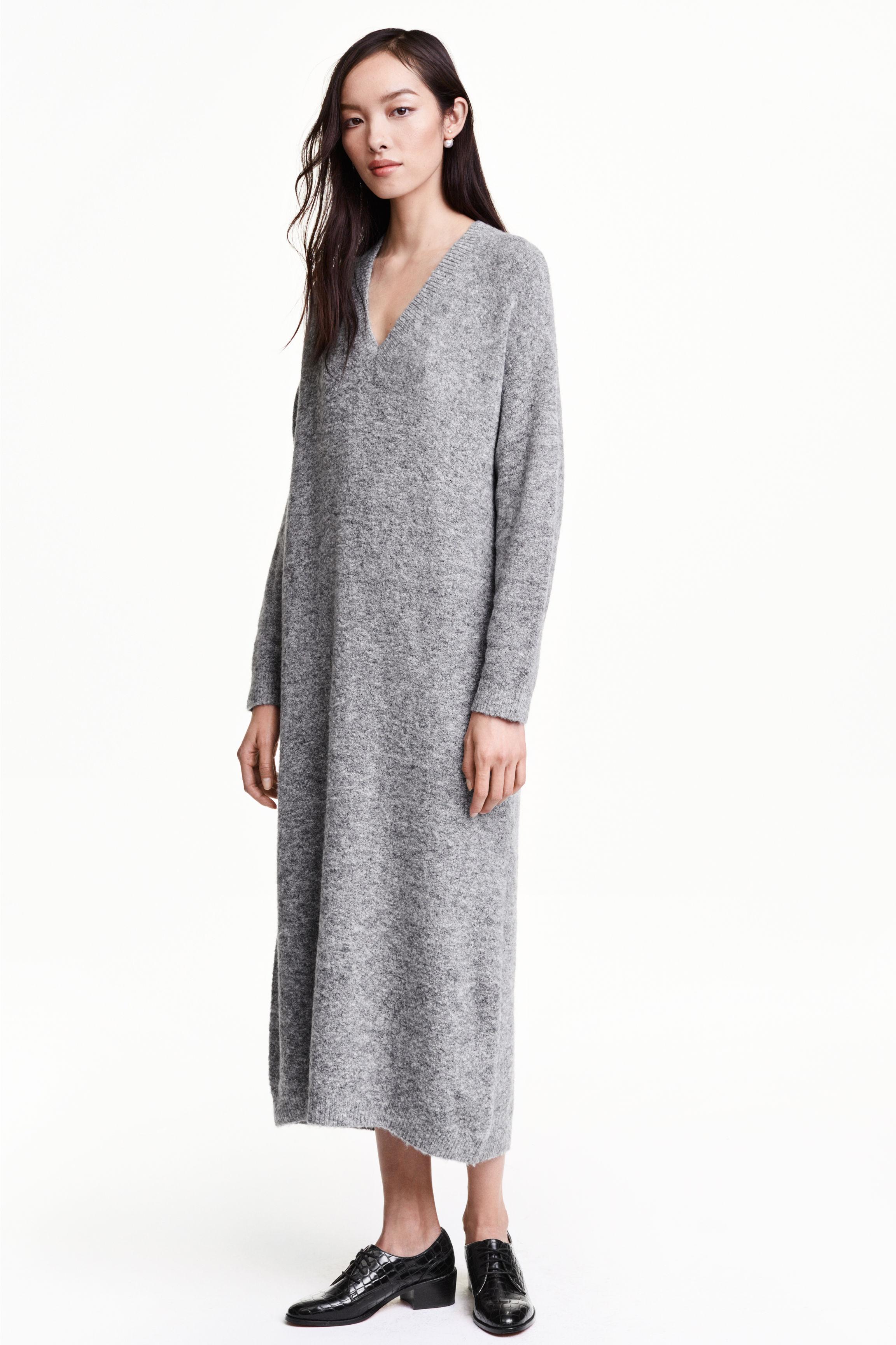 Long knitted dress - Grey marl - Ladies   H&M GB