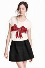 Sequined top - White/Bow - Ladies | H&M GB 1