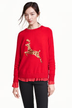 Sequined jumper - Red - Ladies | H&M GB 1