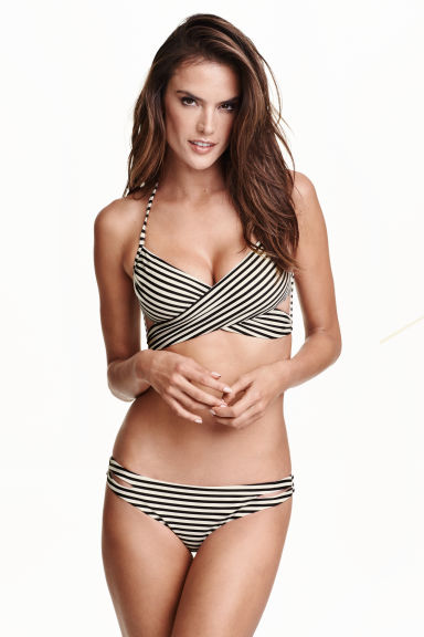Slip bikini sgambati - Nero/righe - DONNA | H&M IT