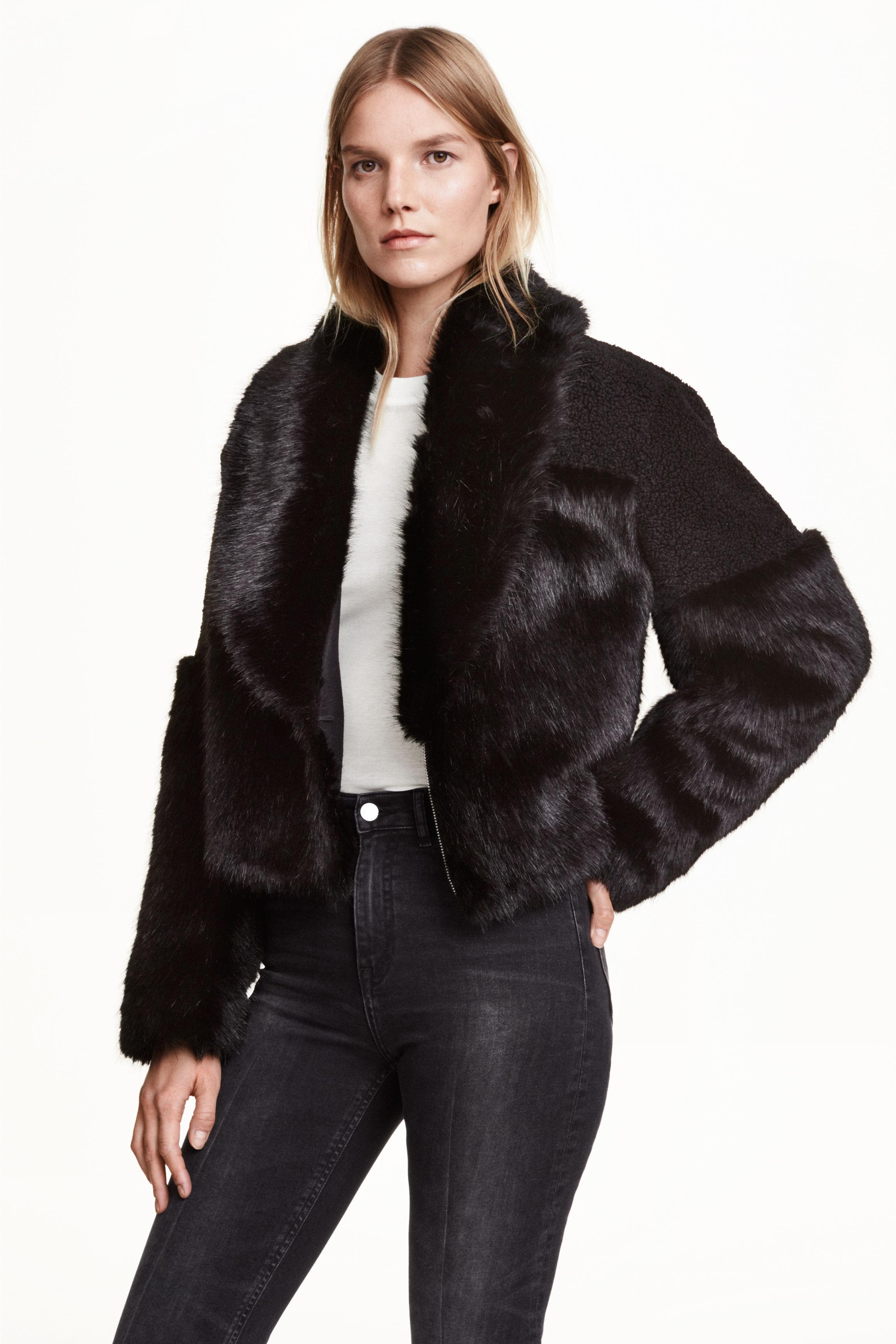 Short faux fur jacket - Black - Ladies | H&M GB