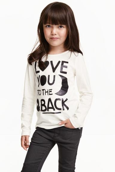 Jersey top with a print - White - Kids | H&M CN