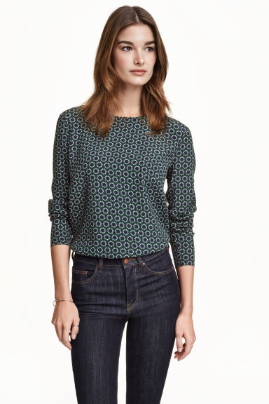 Crêpe blouse - Petrol/Patterned - Ladies | H&M CN 1