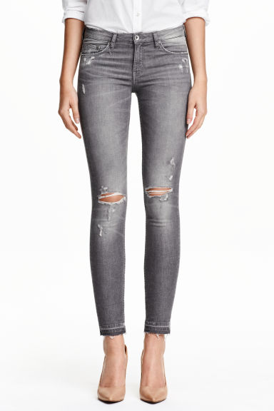 Super Skinny Low Ripped Jeans - Grey - Ladies | H&M GB 1