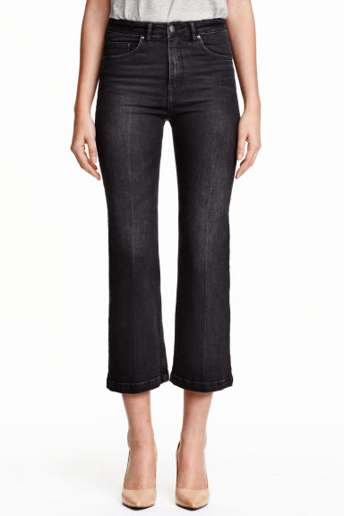 Jeans Cropped Flare High - Nearly black - SENHORA | H&M PT 1