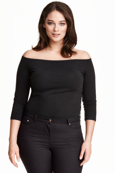 H&M+ Off-the-shoulder top - Black - Ladies | H&M CN 1