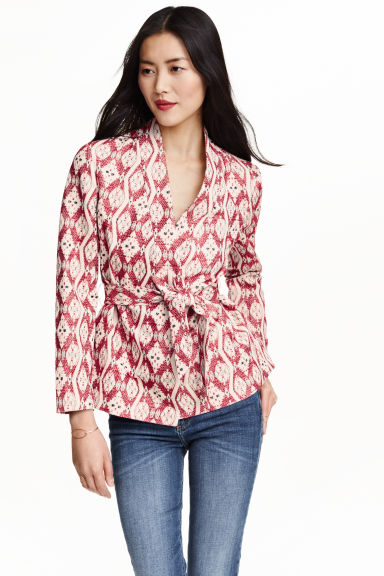 Jacquard-weave jacket - Dark red/Patterned - Ladies | H&M CN 1