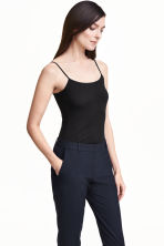 Spaghetti strap top - Black - Ladies | H&M CN 1