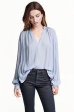 Wide blouse - Light blue/Striped - Ladies | H&M GB 1
