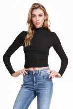 Short polo-neck top - Black - Ladies | H&M GB 2