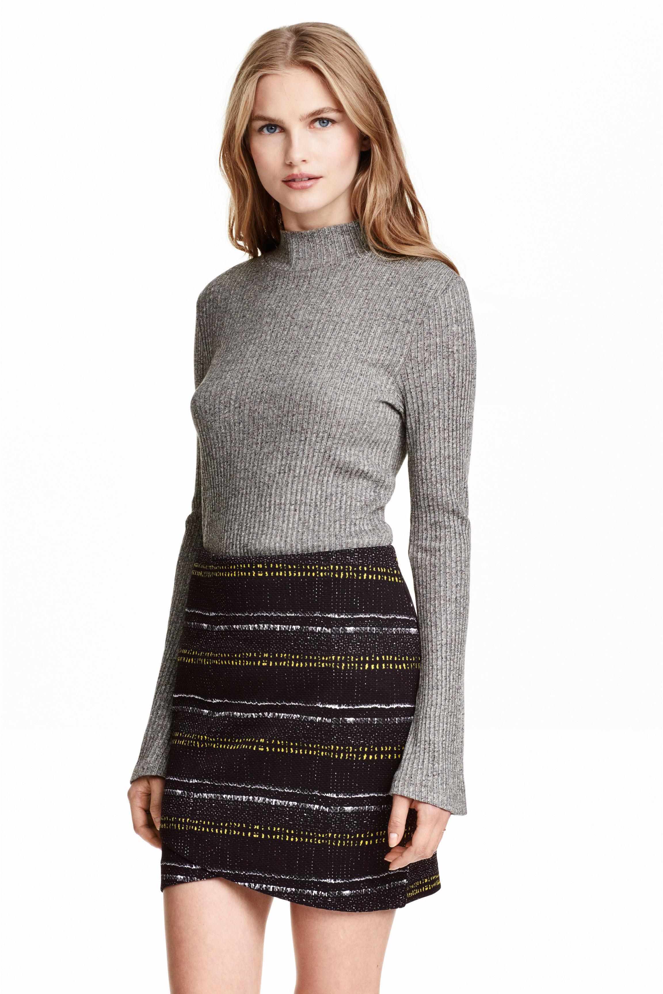 Short wrap skirt - Dark grey/Patterned - Ladies   H&M GB