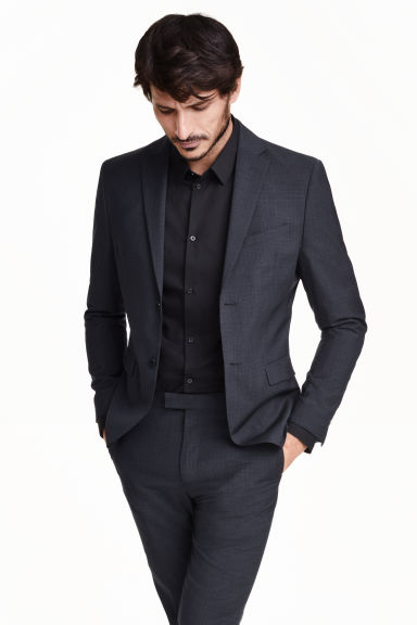Blazer in lana mélange - Blu scuro - UOMO | H&M IT 1