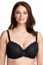 Padded underwired bra E/F cup - Black - Ladies | H&M CN 1