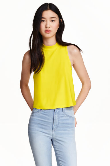 Cropped jersey top - Yellow - Ladies | H&M CN