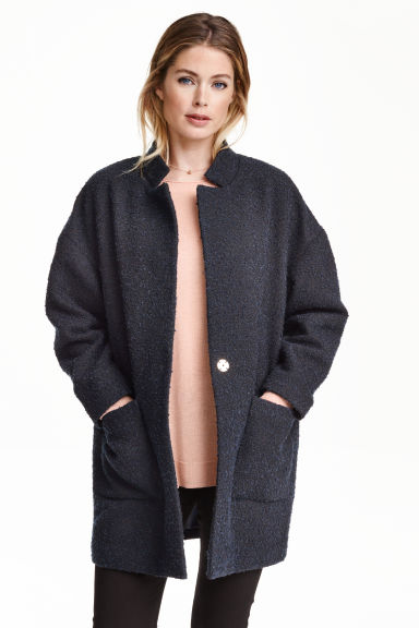 Bouclé coat - Dark blue - Ladies | H&M GB 1