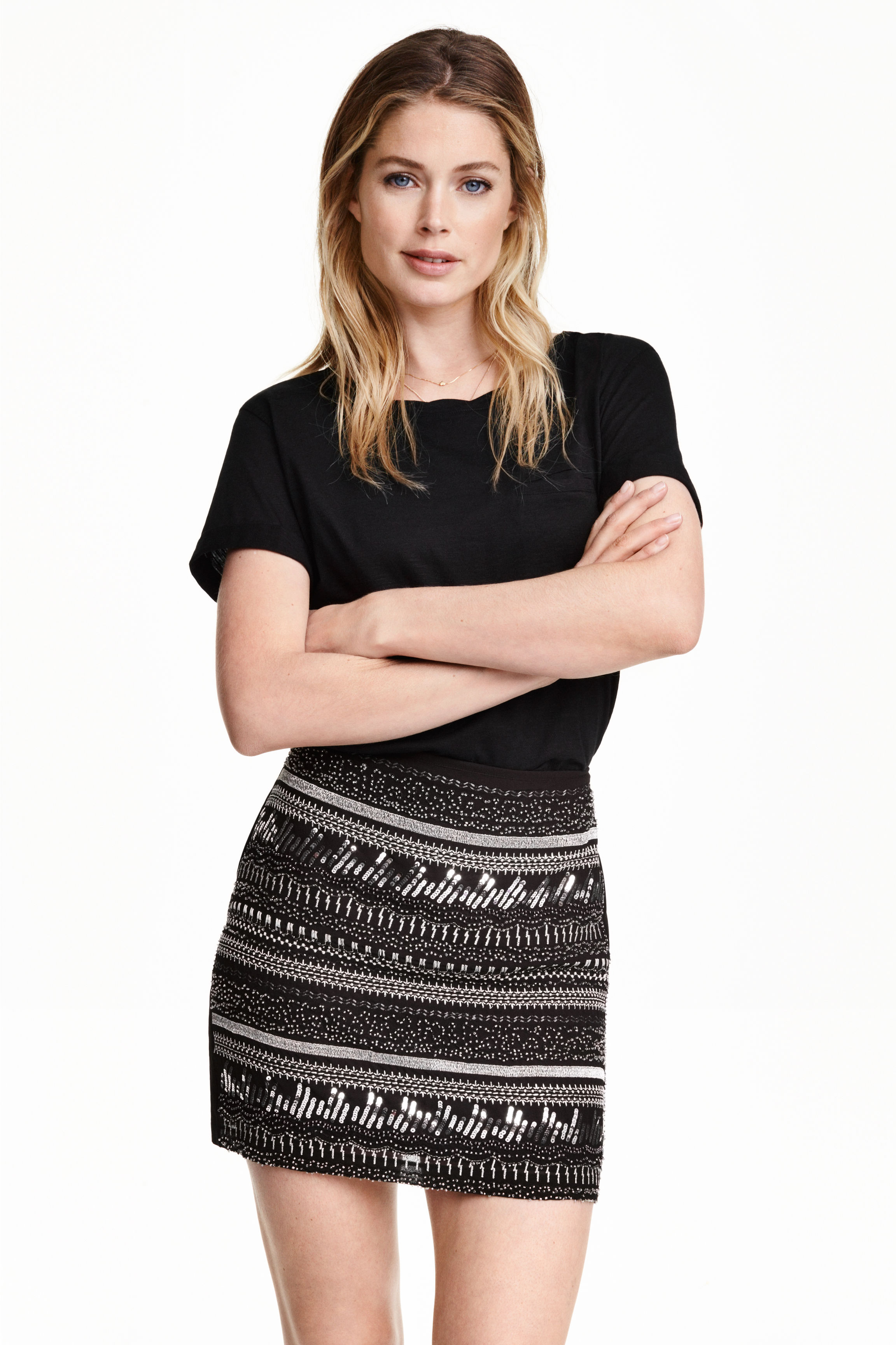 Embroidered skirt - Black/Silver - Ladies | H&M GB
