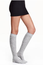 Overknee socks - Light grey marl - Ladies | H&M CN 1
