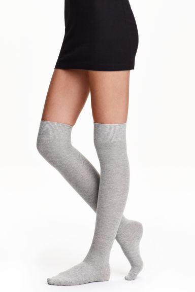 2-pack over-the-knee socks - Grey/Black - Ladies | H&M CN 1