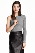 One-shoulder top - Dark grey marl - Ladies | H&M CN 1