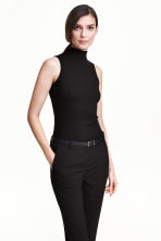 Ribbed polo-neck top - Black - Ladies | H&M CN 1